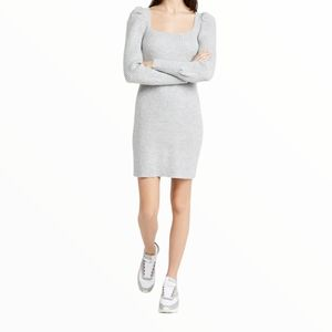 WAYF Square Neck Sweater Knit Dress w/Puff Sleeves